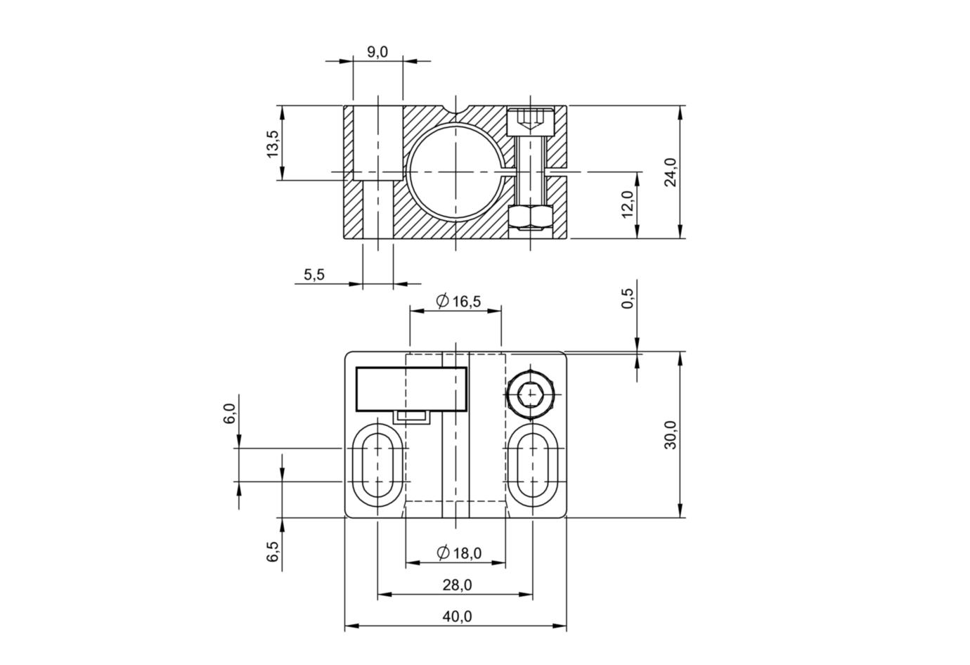 BALLUFF Klemmbock avec rotule bam00t3 Bos 18,0-kb-1 pour capteurs m18